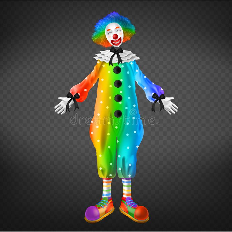 Clown in circus, party man, funny jester character stock illustration