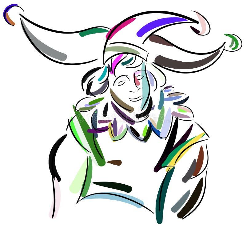 Clown coloré stylisé illustration de vecteur