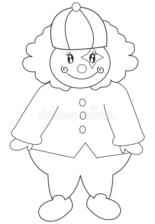 Clown coloring page vector illustration