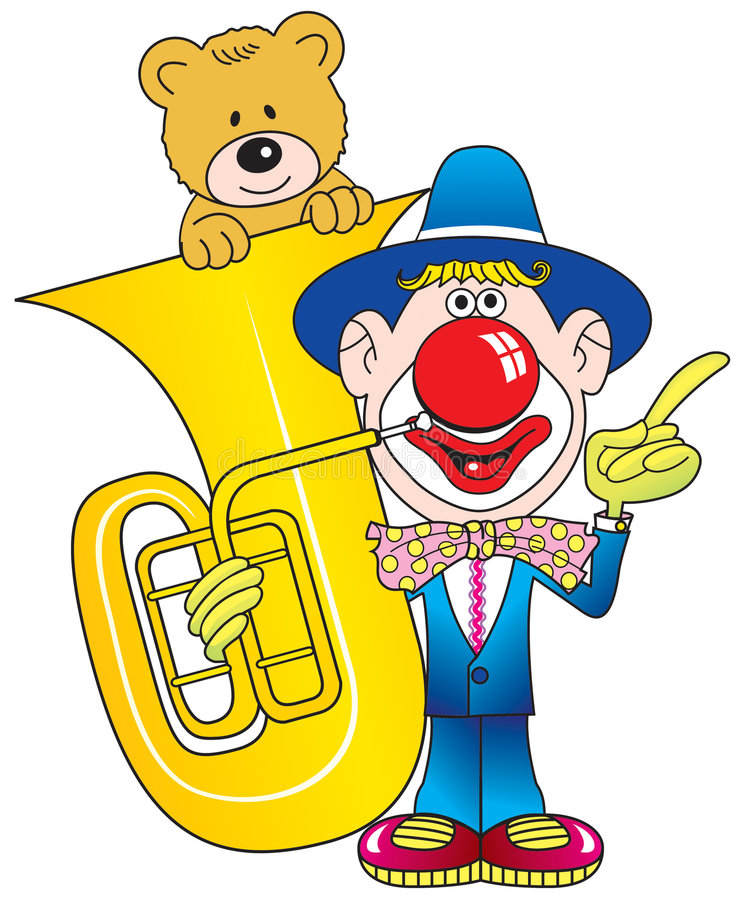 Download Clown, Contrabass And Teddy. Stock Illustration - Image: 8317055