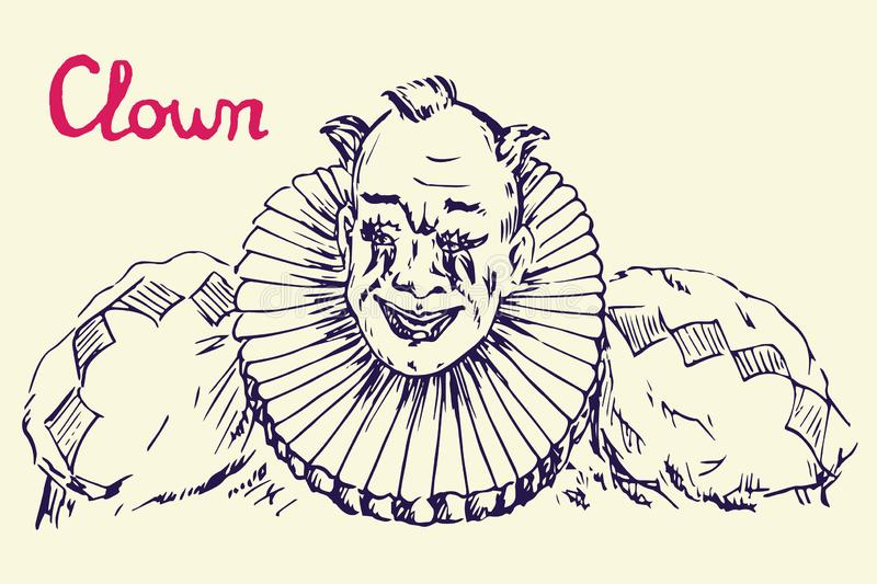 The clown in costume with funny hair smiling vector illustration