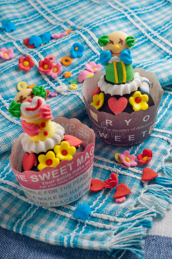 Clown Cupcake stockbild