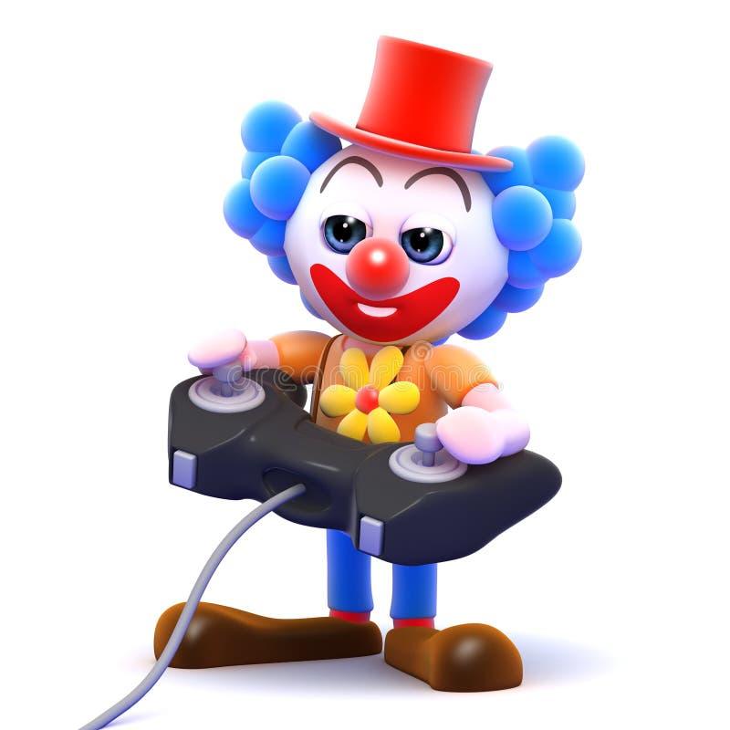 Clown 3d spielt ein Videospiel stock abbildung
