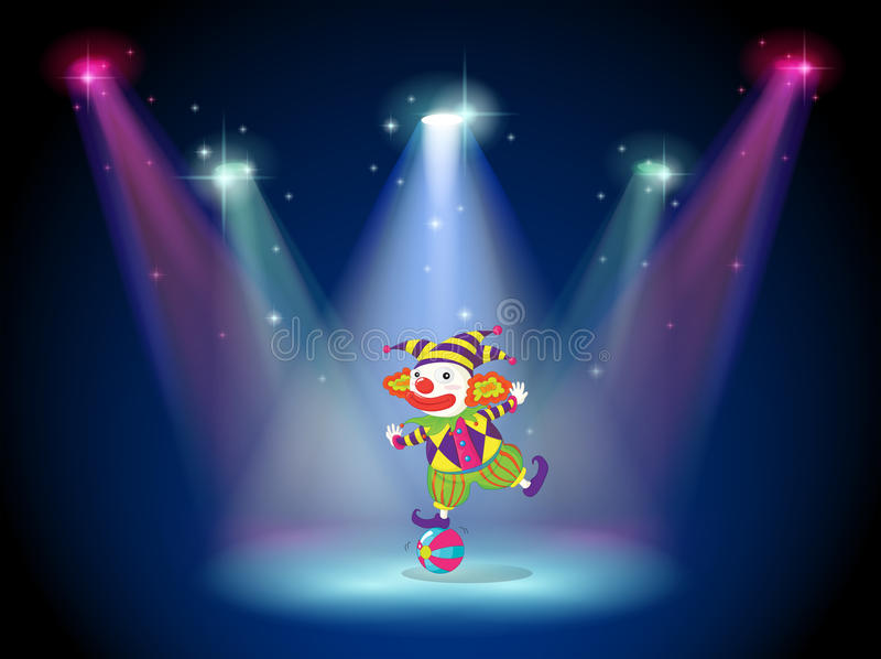 A clown dancing above the ball with spotlights