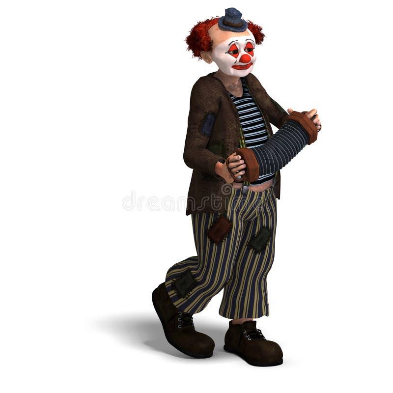Clown de cirque drôle avec le sort d'émotions illustration de vecteur