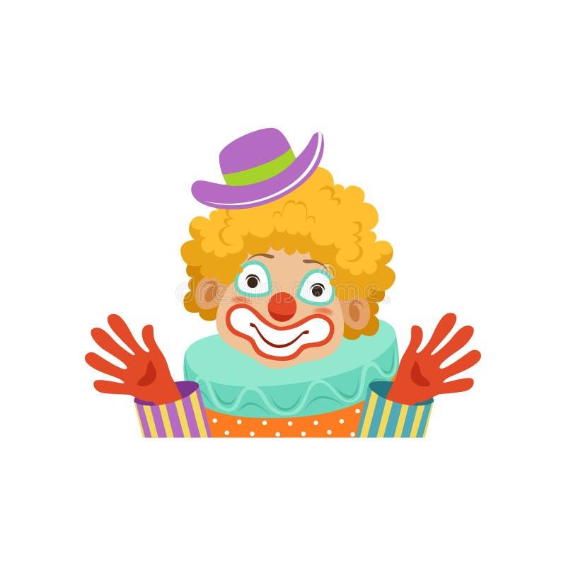 Clown de cirque drôle montrant ses mains, avatar de clown amical de bande dessinée dans l'illustration classique de vecteur d'équ illustration libre de droits