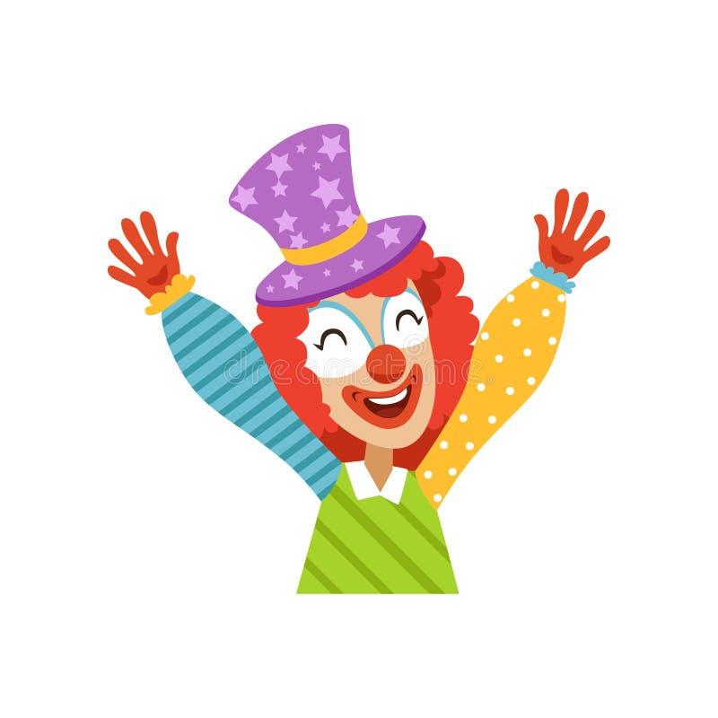 Clown de cirque drôle soulevant ses mains, avatar de clown amical de bande dessinée dans l'illustration classique de vecteur d'éq illustration stock