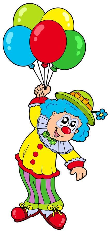 Clown de sourire drôle avec des ballons illustration libre de droits