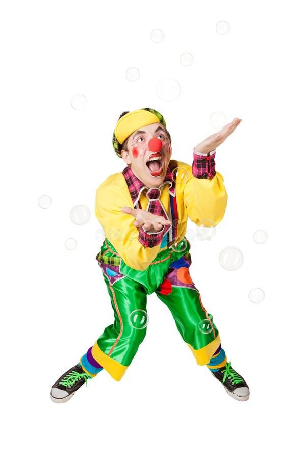 Clown in den Seifenblasen lizenzfreie stockbilder