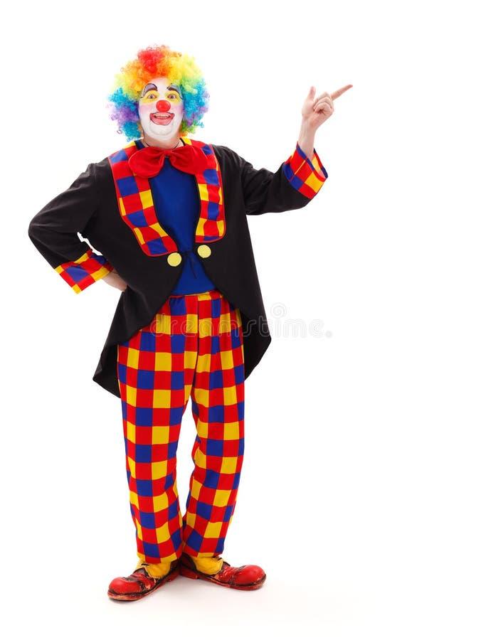 Clown, der aufwärts zeigt stockfoto