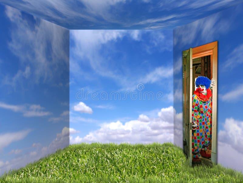 Clown, der einen freundlichen Platz einträgt lizenzfreie stockfotos