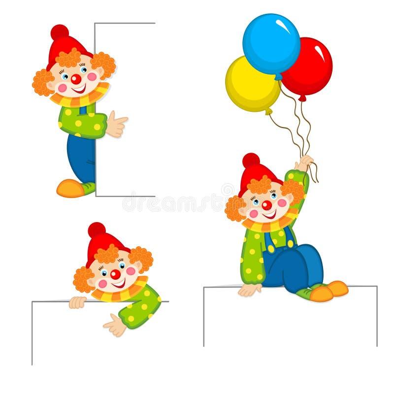 Clown die achter aanplakbiljet gluren stock illustratie