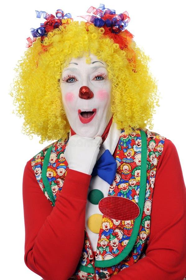 Clown die Verrassing uitdrukt stock afbeelding