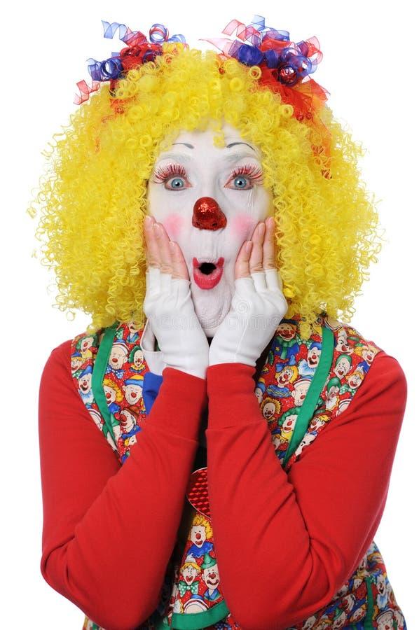 Clown die Verrassing uitdrukt stock afbeeldingen