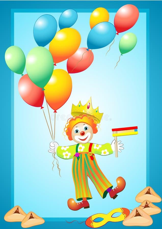 Clown drôle avec les ballons, le masque, le générateur de bruit et le p illustration de vecteur