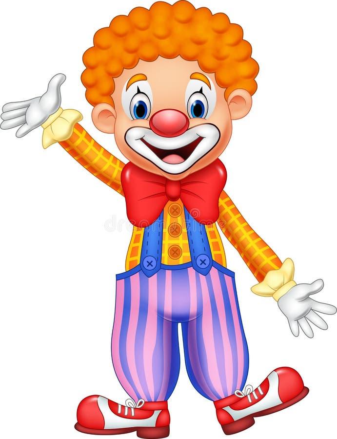 Clown drôle de bande dessinée illustration de vecteur