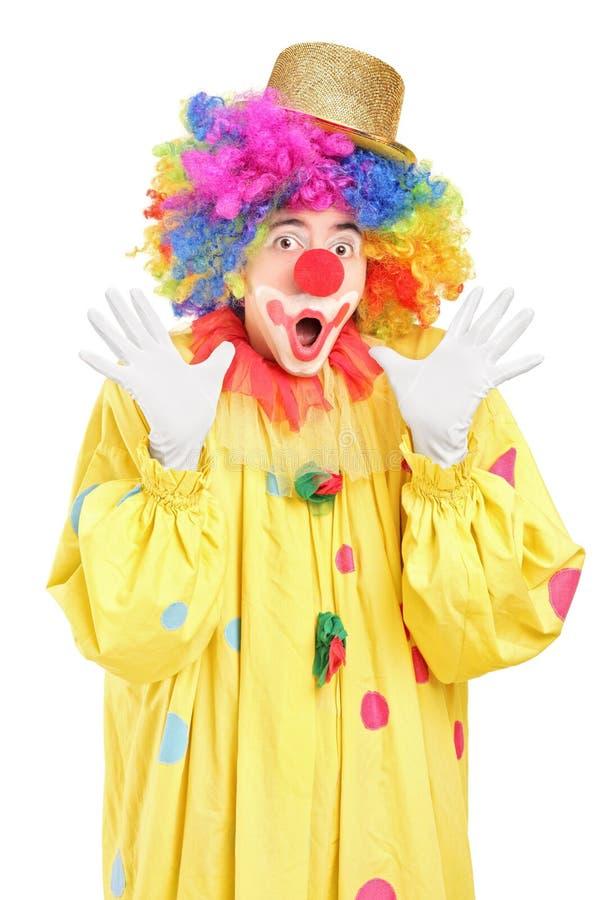 Clown Drôle Faisant Des Gestes Avec Des Mains Photos libres de droits