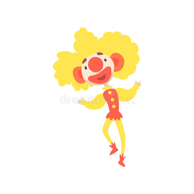 Clown drôle heureux avec l'illustration colorée peinte de vecteur de personnage de dessin animé de visage illustration stock