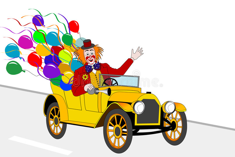 Clown driver. Clown with balloons in old yellow car