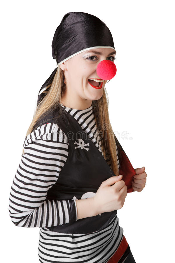 Clown in een piraatkostuum royalty-vrije stock foto's