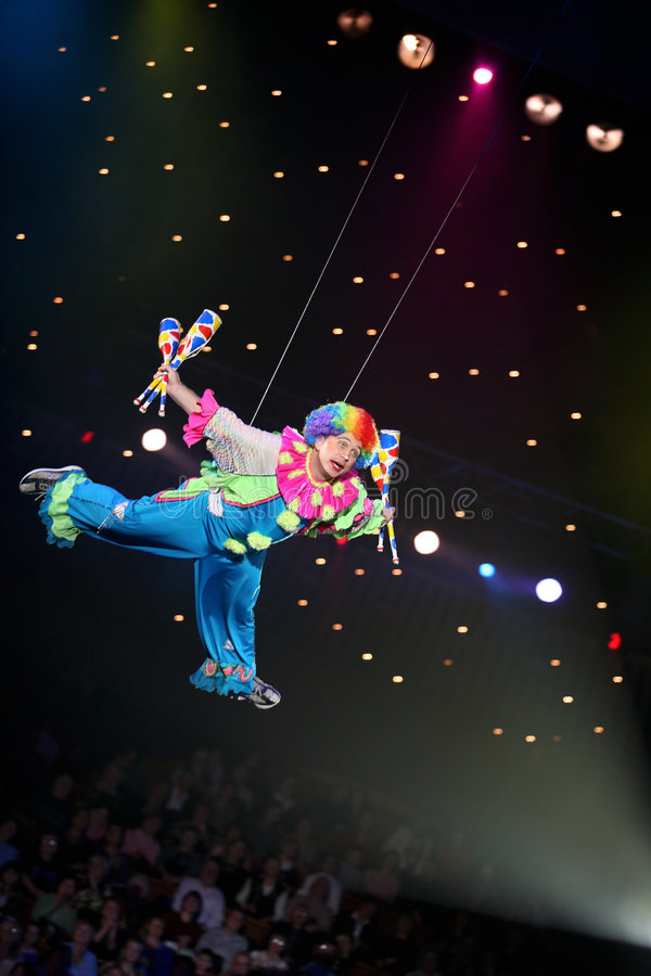Clown in einem Zirkus lizenzfreie stockfotos