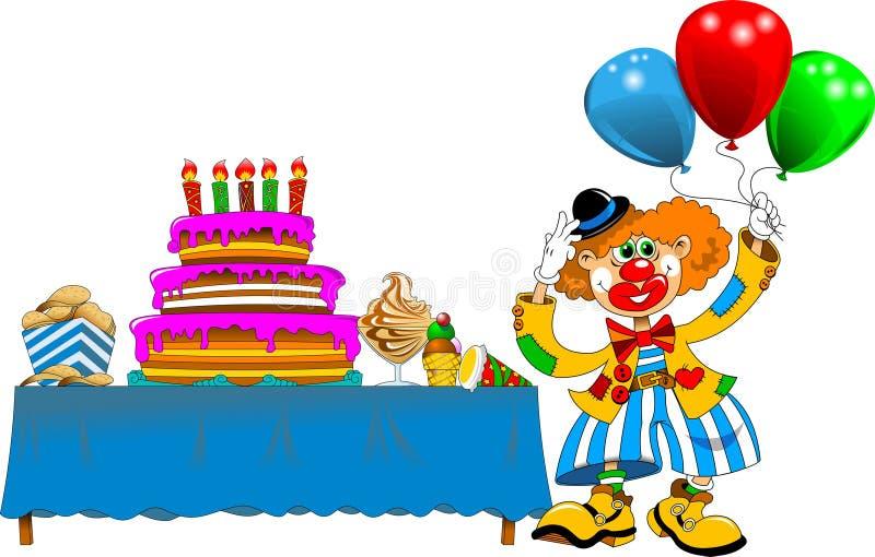 Clown an einer Geburtstagsfeier stock abbildung