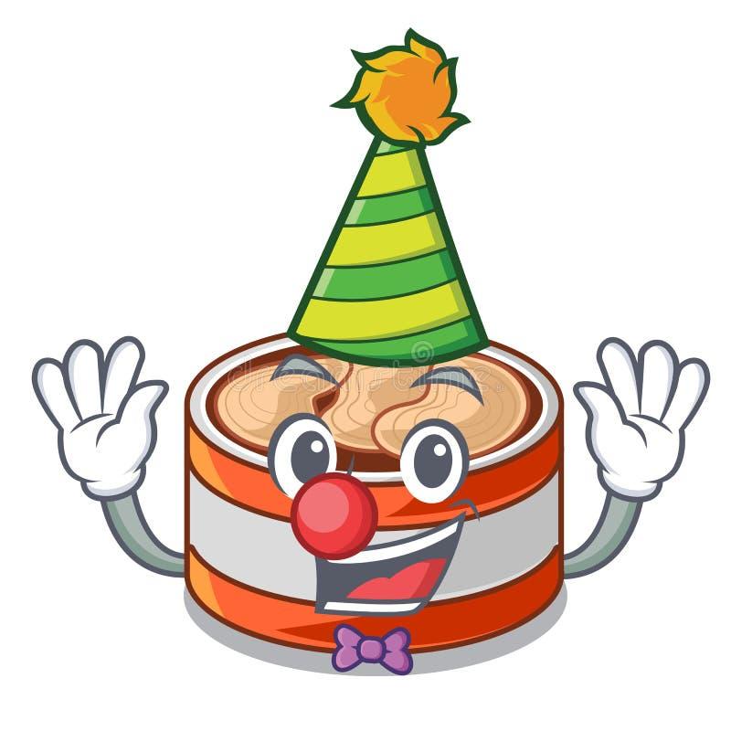 Clown eingemachter Thunfisch im Karikaturküchenschrank stock abbildung