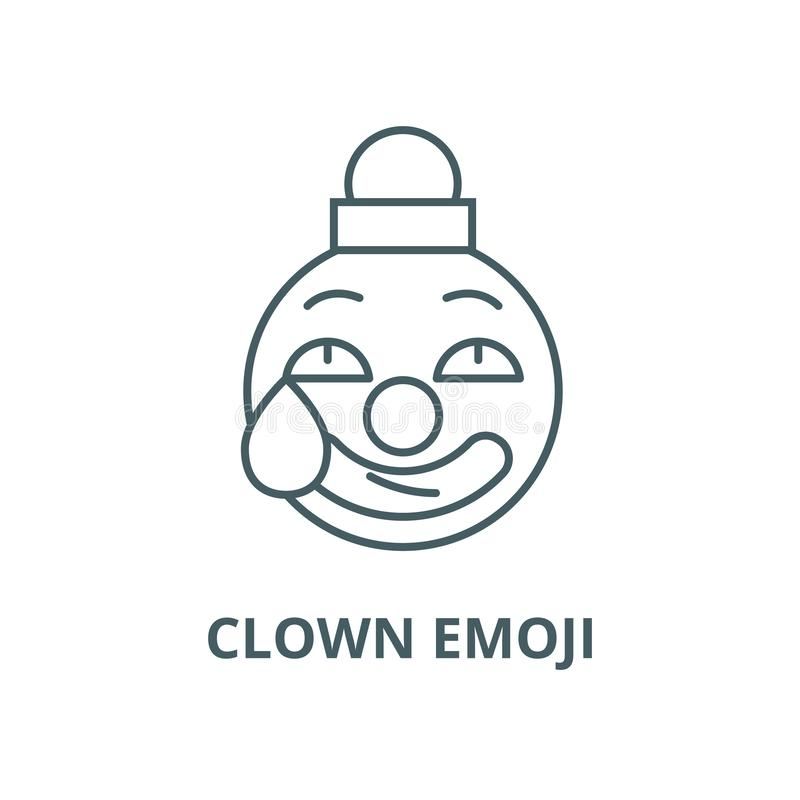 Clown emoji line icon, vector. Clown emoji outline sign, concept symbol, flat illustration. Clown emoji line icon, vector. Clown emoji outline sign, concept royalty free illustration