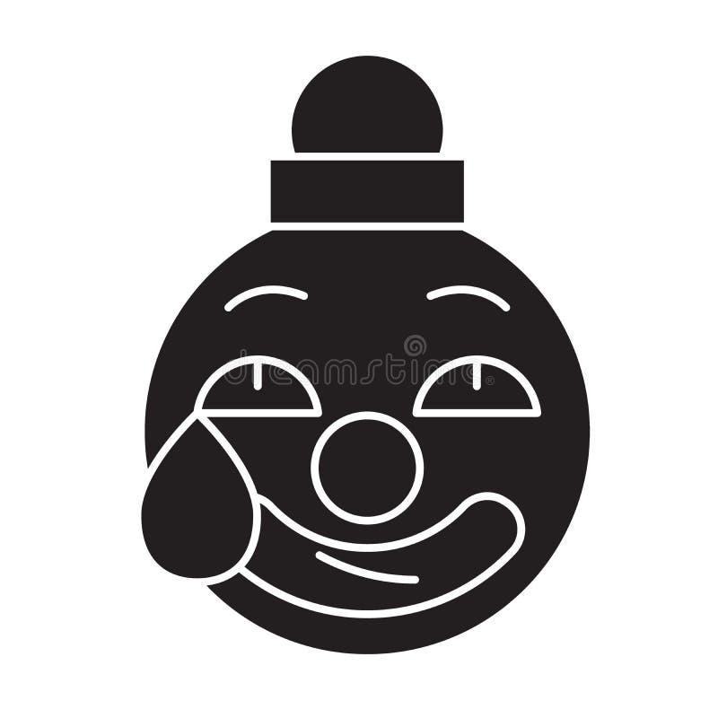 Clown emoji Schwarzvektor-Konzeptikone Clown emoji flache Illustration, Zeichen lizenzfreie abbildung
