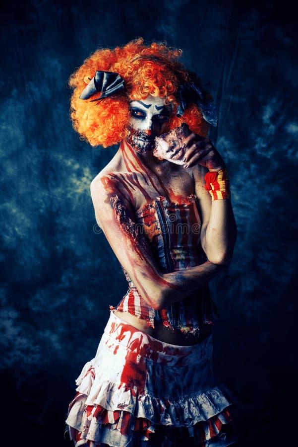 Clown ensanglanté effrayant image libre de droits