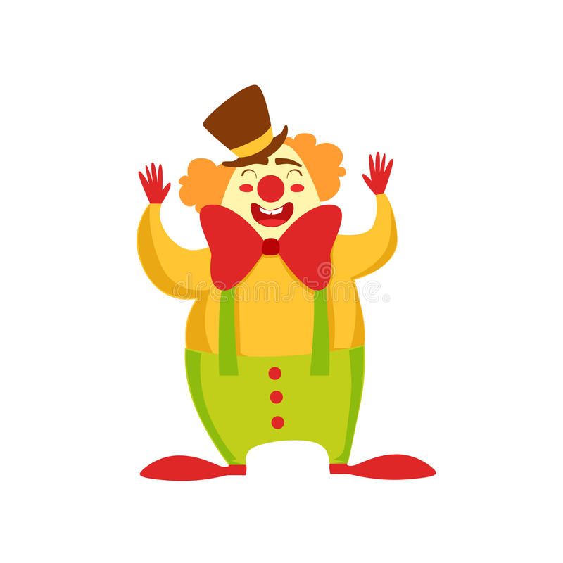 Clown Entertainer Kids Birthday Party Happy Smiling Animated Cartoon Girly Character Festive Illustration. Part Of Vector Collection Of Fantasy Creatures On royalty free illustration