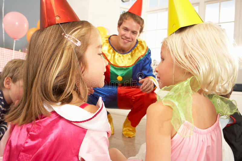 Download Clown Entertaining Children Stock Photo - Image of girls, home: 25392618