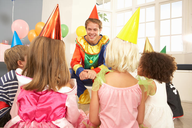Clown Entertaining Children At Party Royalty Free Stock Photography