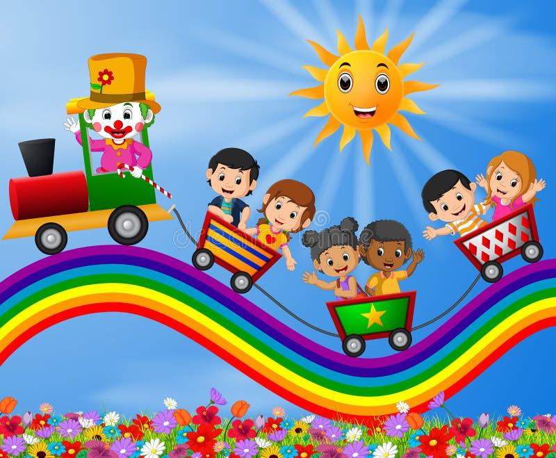Clown et train de déplacement des enfants sur l'arc-en-ciel illustration de vecteur