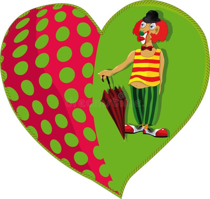 Clown et un coeur illustration de vecteur