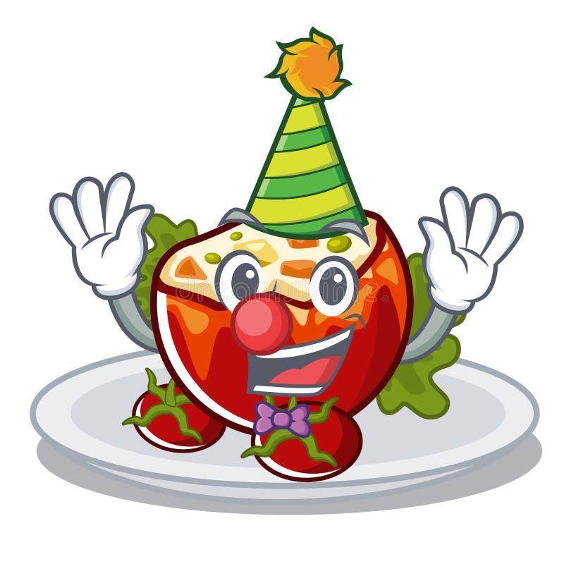 Clown füllte Tomaten in der Karikaturform an stock abbildung