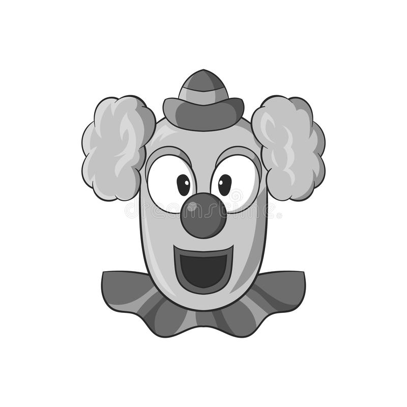 Clown face icon, black monochrome style. Clown face icon in black monochrome style isolated on white background. Attraction symbol vector illustration stock illustration