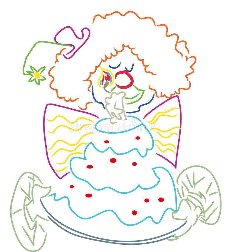 Download Clown with birthday cake stock vector. Illustration of illustrationnillustration - 114347492