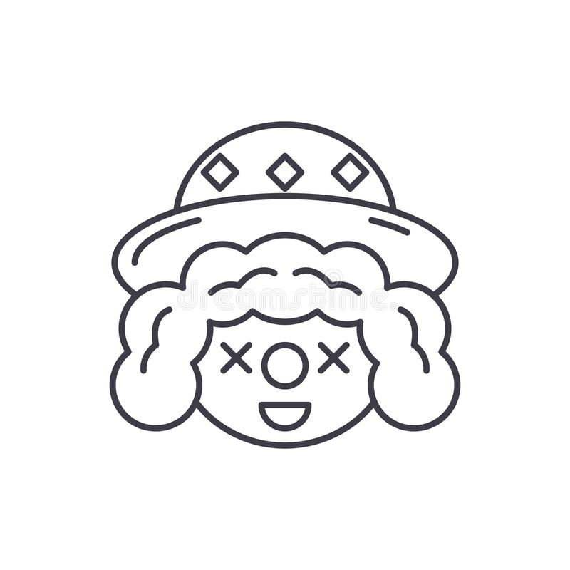 Clown face line icon concept. Clown face vector linear illustration, symbol, sign royalty free illustration