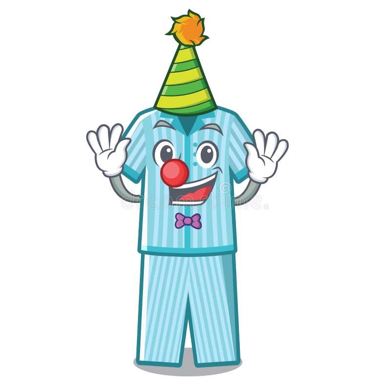 Clown faltete Pyjamas in einem Karikaturwandschrank lizenzfreie abbildung