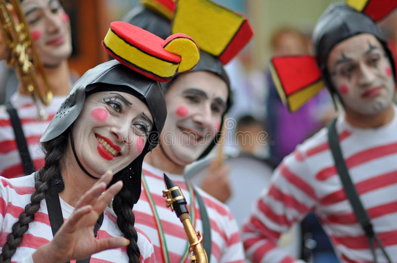 Clown fanfare. Sibiu city - center avenue - in middle Romania, Transylvania land is now host of International Festival of Theater May 25th - June 3rd 2012 royalty free stock images