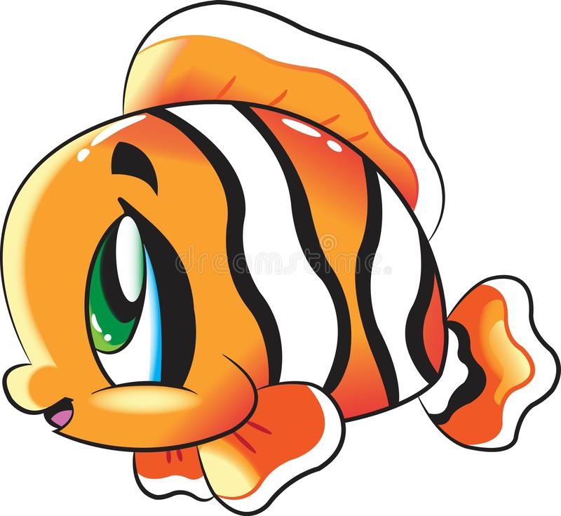 Clown Fish - collection mignonne de bande dessinée de vie marine sous les caractères animaux de l'eau illustration libre de droits