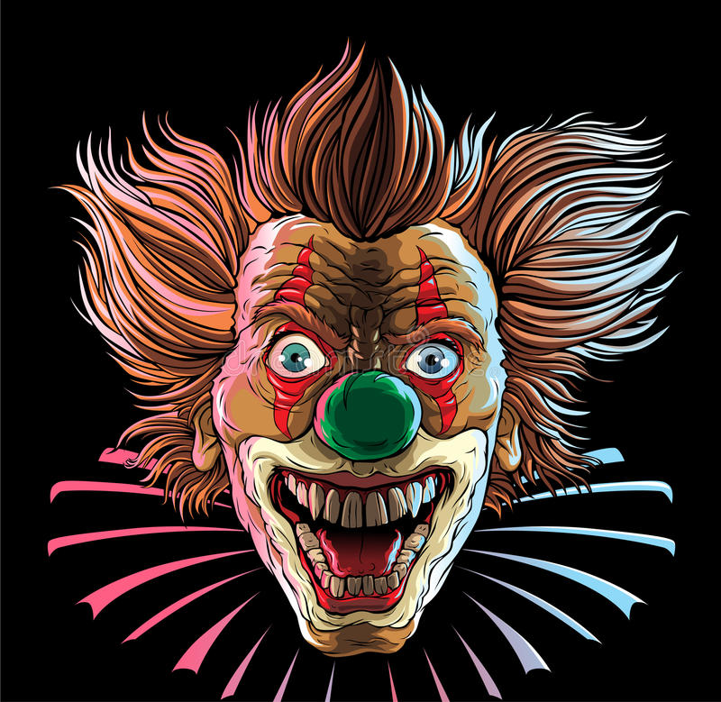 Clown fou Head illustration stock