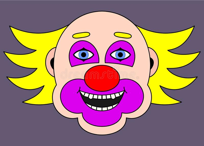 Clown gai avec les cheveux jaunes Illustration de dessin anim? illustration stock