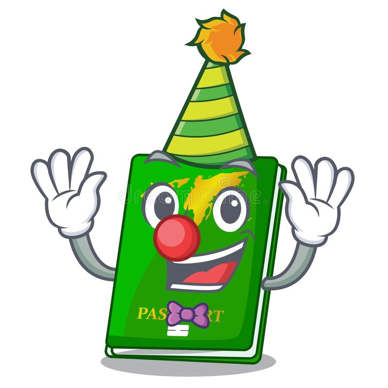 Clown green passport on the mascot table. Vector illustration vector illustration