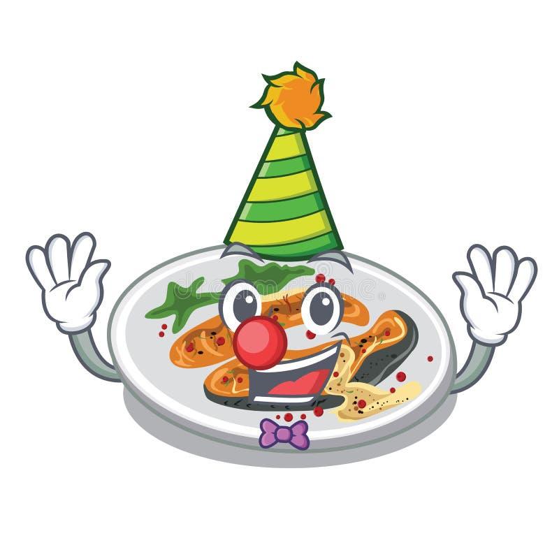 Clown grillte Lachse auf einer Karikaturplatte stock abbildung