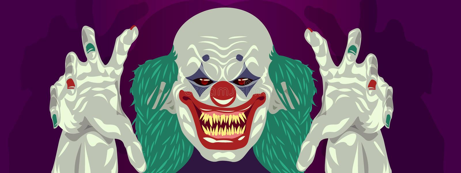 Clown Halloween costume clown flat design. Scary clown reaching out hands to grab you stock illustration