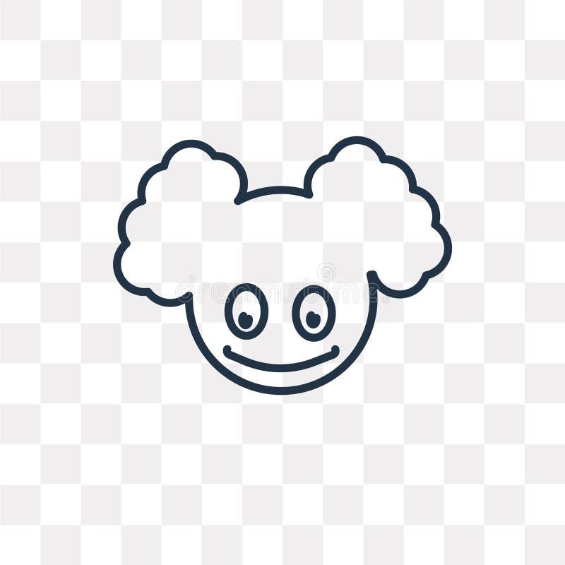 Clown-Head-Vektorikone lokalisiert auf transparentem Hintergrund, linea lizenzfreie abbildung