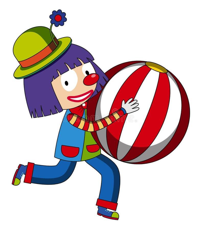 Clown heureux avec le beachball illustration stock