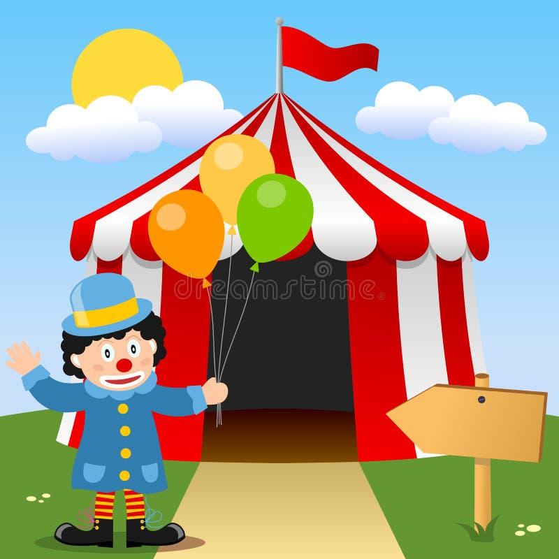 Clown heureux près de tente de cirque illustration de vecteur